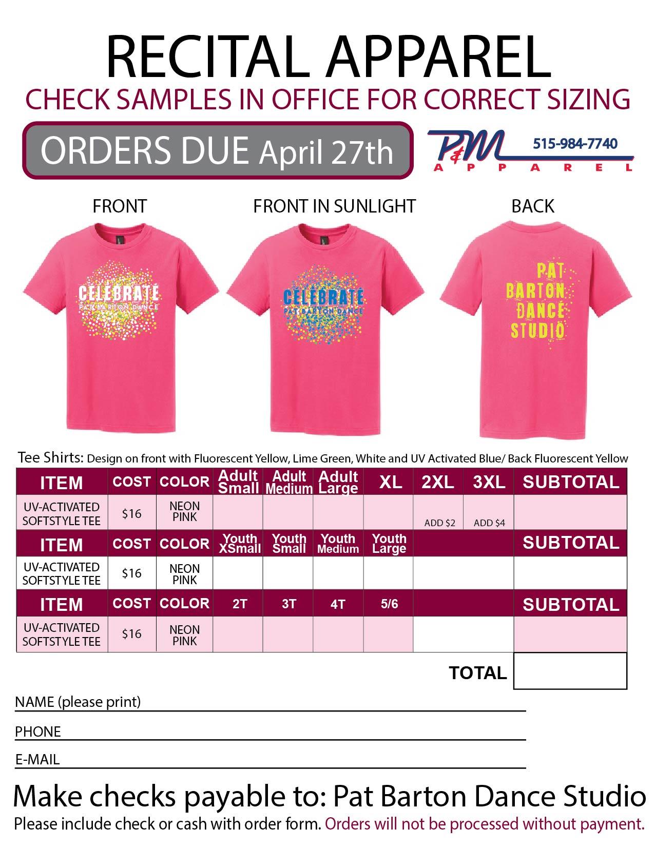 Recital TShirt Order Form – T Shirt Order Form